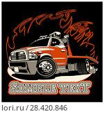 Купить «Cartoon tow truck», иллюстрация № 28420846 (c) Александр Володин / Фотобанк Лори