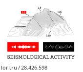 Seismic activity infographics vector illustration with sound waves, graphs and topological relief. Стоковая иллюстрация, иллюстратор Павлов Максим / Фотобанк Лори