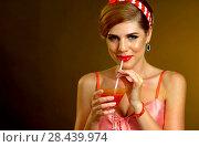 Купить «Pin up girl drink bloody Mary cocktail. Pin-up retro female style.», фото № 28439974, снято 16 июля 2018 г. (c) Gennadiy Poznyakov / Фотобанк Лори