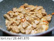 Купить «Meat in cream sauce on a pan», фото № 28441870, снято 4 февраля 2018 г. (c) ivolodina / Фотобанк Лори