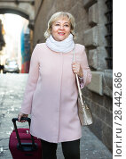 Купить «portrait of mature female with baggage», фото № 28442686, снято 27 ноября 2017 г. (c) Яков Филимонов / Фотобанк Лори