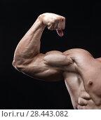 Купить «Handsome power athletic man bodybuilder demonstrates his biceps.», фото № 28443082, снято 16 марта 2018 г. (c) Restyler Viacheslav / Фотобанк Лори