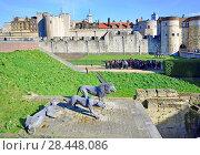 Купить «London, England, UK. Tower of London (11th-14thC) 3 Lions wire mesh sculpture (2011) by Kendra Haste of the Society of Wildlife Artists.», фото № 28448086, снято 21 марта 2018 г. (c) age Fotostock / Фотобанк Лори