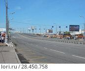 Купить «Транспортная развязка на пересечении Третьего транспортного кольца и Звенигородского шоссе. Пресненский район. Город Москва», эксклюзивное фото № 28450758, снято 9 мая 2018 г. (c) lana1501 / Фотобанк Лори
