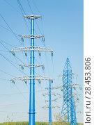 Купить «Новые опоры линии электропередачи (ЛЭП)», фото № 28453806, снято 13 мая 2018 г. (c) Алёшина Оксана / Фотобанк Лори