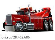 Купить «Cartoon big rig tow truck», иллюстрация № 28462686 (c) Александр Володин / Фотобанк Лори
