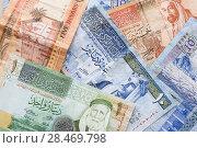 Купить «Jordanian dinars, banknotes with kings», фото № 28469798, снято 19 мая 2018 г. (c) EugeneSergeev / Фотобанк Лори