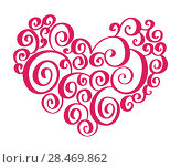Hand drawn heart love valentine flourish separator Calligraphy designer elements. Vector vintage wedding illustration Isolated on white background frame, hearts for your design. Стоковая иллюстрация, иллюстратор Happy Letters / Фотобанк Лори