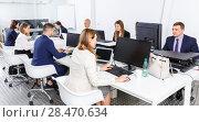 Купить «Group of successful business people during daily work in modern co-working space», фото № 28470634, снято 21 апреля 2018 г. (c) Яков Филимонов / Фотобанк Лори