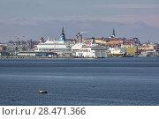 Пассажирские паромы в порту Таллина на фоне старого города, Эстония (2016 год). Редакционное фото, фотограф Михаил Марковский / Фотобанк Лори