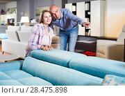 Купить «Salesman offering furniture variants to positive woman in salon», фото № 28475898, снято 16 мая 2017 г. (c) Яков Филимонов / Фотобанк Лори