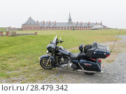 Купить «Motorcycle at Fortress of Louisbourg, Louisbourg, Cape Breton Island, Nova Scotia, Canada», фото № 28479342, снято 13 июня 2016 г. (c) Ingram Publishing / Фотобанк Лори