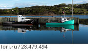 Fishing trawlers moored at dock, Inverness Harbour, Mabou, Cape Breton Island, Nova Scotia, Canada (2016 год). Стоковое фото, фотограф Keith Levit / Ingram Publishing / Фотобанк Лори