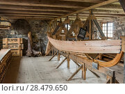 Купить «Wooden boat being made in a workshop, Fortress of Louisbourg, Louisbourg, Cape Breton Island, Nova Scotia, Canada», фото № 28479650, снято 13 июня 2016 г. (c) Ingram Publishing / Фотобанк Лори