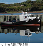 Fishing boat moored at dock, Mabou, Cape Breton Island, Nova Scotia, Canada. Стоковое фото, фотограф Keith Levit / Ingram Publishing / Фотобанк Лори