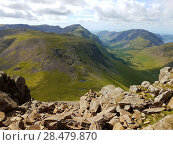 Купить «View of Lake District from the top of Great Gable in the English Lake District», фото № 28479870, снято 26 июня 2019 г. (c) Ingram Publishing / Фотобанк Лори