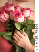 Купить «Unrecognizable woman holding bouquet of pink roses. She is very satisfacted. Valentine's day or international women's day celebration.», фото № 28479966, снято 18 января 2014 г. (c) Ingram Publishing / Фотобанк Лори