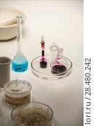 Купить «Group of laboratory flasks liquid on table», фото № 28480242, снято 16 мая 2014 г. (c) Ingram Publishing / Фотобанк Лори