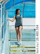 Купить «Healthy lifestyle sports woman walking on stairs of city bridge», фото № 28480594, снято 22 июня 2014 г. (c) Ingram Publishing / Фотобанк Лори