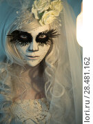 Купить «Halloween witch. Beautiful woman wearing santa muerte mask portrait», фото № 28481162, снято 21 сентября 2014 г. (c) Ingram Publishing / Фотобанк Лори