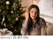 Купить «Beautiful woman wearing winter outfit sitting on couch at home near Christmas tree», фото № 28481642, снято 12 ноября 2014 г. (c) Ingram Publishing / Фотобанк Лори