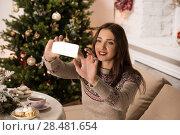Купить «Young pretty woman taking selfie at home while sitting on sofa near Christmas tree», фото № 28481654, снято 12 ноября 2014 г. (c) Ingram Publishing / Фотобанк Лори