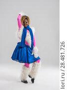 Купить «Festive african woman wearing funny costume posing on gray background», фото № 28481726, снято 13 ноября 2014 г. (c) Ingram Publishing / Фотобанк Лори