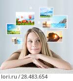 Купить «Portrait of young happy woman with travel vacation memories or expectations around her», фото № 28483654, снято 7 мая 2013 г. (c) Ingram Publishing / Фотобанк Лори