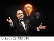 Купить «Businessman and burning bulb. Business man having great hot idea», фото № 28483710, снято 28 января 2013 г. (c) Ingram Publishing / Фотобанк Лори