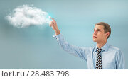Купить «Business man using cloud services», фото № 28483798, снято 23 февраля 2013 г. (c) Ingram Publishing / Фотобанк Лори