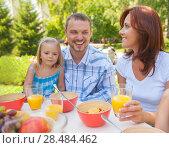 Купить «Family eating together outdoors at summer park or backyard», фото № 28484462, снято 14 июля 2013 г. (c) Ingram Publishing / Фотобанк Лори