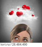 Купить «Red hearts flying in cloud overhead of beautiful dreamy woman. Valentine's day background», фото № 28484490, снято 23 июля 2018 г. (c) Ingram Publishing / Фотобанк Лори