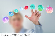 Medicine doctor hand working with modern medical icons. Стоковое фото, фотограф Kirill Kedrinskiy / Ingram Publishing / Фотобанк Лори