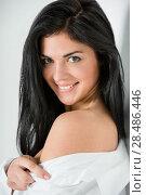 Fresh summer face - beautiful brunette woman smiling and flirting. Стоковое фото, фотограф Kirill Kedrinskiy / Ingram Publishing / Фотобанк Лори