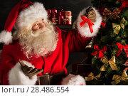 Купить «Santa Claus decorating Christmas tree in dark room», фото № 28486554, снято 31 января 2013 г. (c) Ingram Publishing / Фотобанк Лори