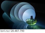 Купить «Флакон духов со множеством отражений на фоне спиралевидного светящегося рулона. Идея для парфюмерной рекламы», фото № 28487790, снято 12 мая 2018 г. (c) Светлана Ельцова / Фотобанк Лори