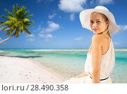 Купить «beautiful woman enjoying summer over beach», фото № 28490358, снято 19 июня 2013 г. (c) Syda Productions / Фотобанк Лори