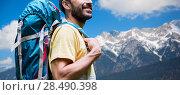 Купить «close up of man with backpack over alps mountains», фото № 28490398, снято 25 июля 2015 г. (c) Syda Productions / Фотобанк Лори