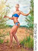 Купить «Young sexy woman outdoors. Soft yellow tint.», фото № 28492262, снято 19 июня 2018 г. (c) Ingram Publishing / Фотобанк Лори