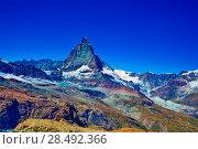 Купить «Alps Matterhorn mountain summer landscape», фото № 28492366, снято 21 сентября 2019 г. (c) Ingram Publishing / Фотобанк Лори