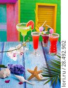 Купить «Cocktails margarita sex on the beach in colorful tropical house with flowers starfish and seashells», фото № 28492902, снято 27 марта 2019 г. (c) Ingram Publishing / Фотобанк Лори
