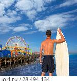 Купить «Boy surfer back rear view holding surfboard on santa Monica Pier California», фото № 28494134, снято 20 июня 2019 г. (c) Ingram Publishing / Фотобанк Лори