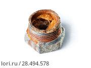 Купить «Rusty water pipe detail. Isolated on white.», фото № 28494578, снято 18 июня 2013 г. (c) Ingram Publishing / Фотобанк Лори