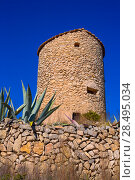 Купить «Javea denia San antonio Cape old windmills masonry structure in Alicante province spain», фото № 28495034, снято 3 февраля 2013 г. (c) Ingram Publishing / Фотобанк Лори