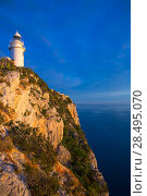 Купить «Denia Javea San Antonio Cape Mediterranean Lighthouse in Alicante Province Spain», фото № 28495070, снято 8 мая 2013 г. (c) Ingram Publishing / Фотобанк Лори