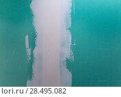 Купить «Drywall hydrophobic plasterboard in green plaste seam detail», фото № 28495082, снято 10 марта 2013 г. (c) Ingram Publishing / Фотобанк Лори