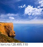 Купить «San  Antonio Cape high angle view of Mediterranean blue Sea in Denia Javea», фото № 28495110, снято 8 мая 2013 г. (c) Ingram Publishing / Фотобанк Лори