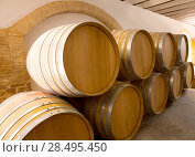 Купить «Wine wooden oak barrels stacked in a row at Mediterranean winery», фото № 28495450, снято 4 сентября 2013 г. (c) Ingram Publishing / Фотобанк Лори