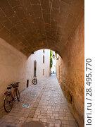 Menorca Ciutadella carrer del Palau barrel vault passage at Balearic islands (2013 год). Стоковое фото, фотограф Tono Balaguer / Ingram Publishing / Фотобанк Лори