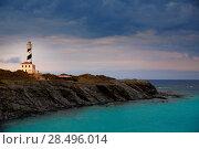 Купить «Cap de Favaritx sunset lighthouse cape in Mahon at Balearic Islands of Spain», фото № 28496014, снято 28 мая 2013 г. (c) Ingram Publishing / Фотобанк Лори